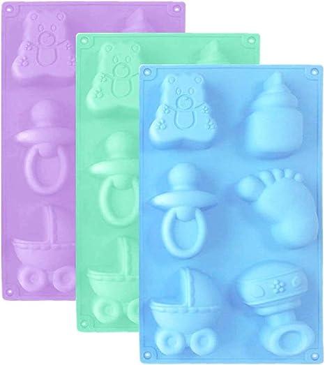 FANDE Molde de Silicona para Fondant, diseño de pies de bebé en 3D, Chocolate, Cubitos de Hielo, Galletas, Mantequilla, gelatinas, jabones ...