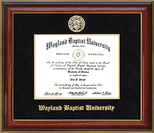 Wordyisms Wayland Baptist University (WBU) Diploma Frame with Embossed School Seal