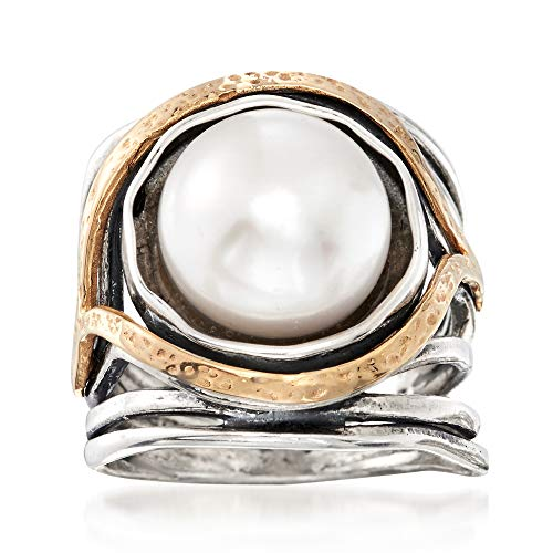Ross-Simons 11.5-12mm Cultured Pearl Openwork Ring in Sterling Silver and 14kt Yellow Gold