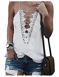 Faithtur Womens Solid Lace up Crisscross Cami Sleeveless Tank Top Camisole Vest