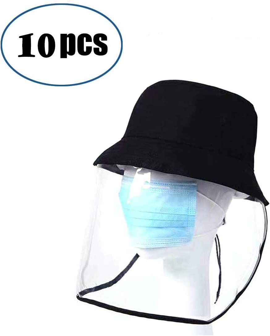 DyAn La Cara Llena de protección del Visera del Protector, plástico Ajustable Transparente Protector Facial for prevenir Saliva10 Paquete