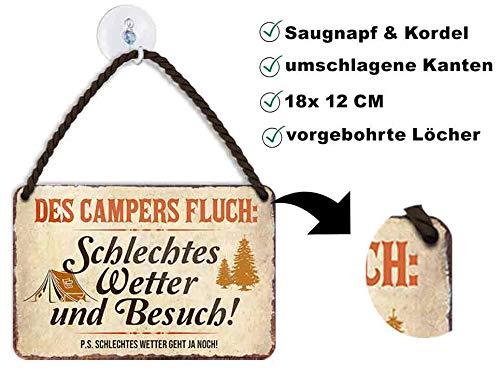 """510yIRh1bzL schilderkreis24 – Blechschild Lustiger Spruch """"des Campers Fluch"""" Deko Metallschild Geschenkidee Retro Camper Wohnwagen…"""