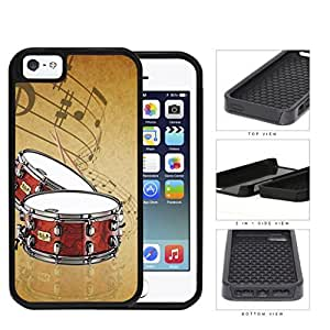 Drums And Musical Notes Brown Grunge 2-Piece Dual Layer High Impact Rubber Silicone Cell Phone Case Apple iPhone 5 5s
