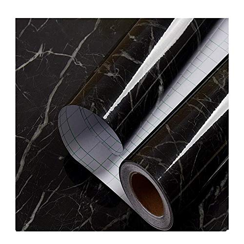 (24in x 6.56ft Black Granite Look Marble Gloss Film Vinyl Self Adhesive Counter Top Peel and Stick Wall Decal (Black Marble))