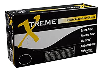 Ammex XNPF49100 Xtreme Powder Free Nitrile Gloves, 230mm Length, Beaded Cuff, XX-Large, Pack of 100 (Blue)