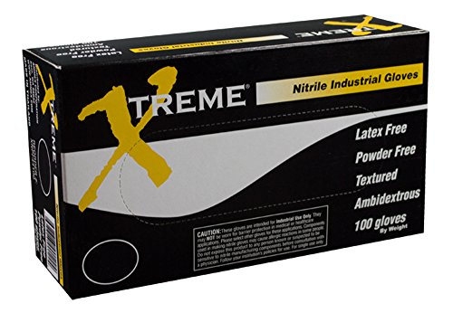 2df89e201d4 Ammex XNPF48100 Nitrile Gloves Xtreme Disposable, Powder Free, Industrial,  4 mil, XLarge, Blue (Case of 1000)