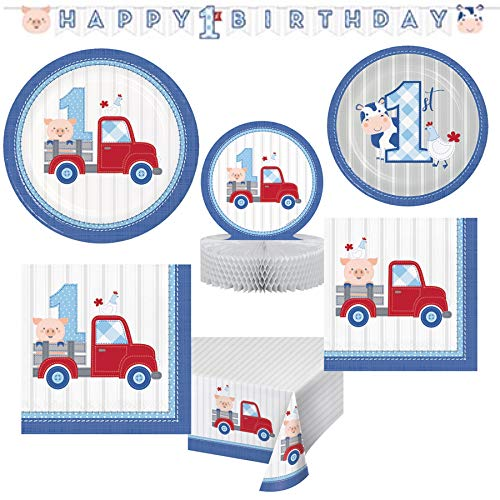 (Olive Occasions Farmhouse Themed Baby Boys First Birthday Paper Party Supplies 16 Dinner Plates, 16 Cake Plates, 16 Lunch Napkins, 16 Beverage Napkins, Banner, Centerpiece, Table Cover )