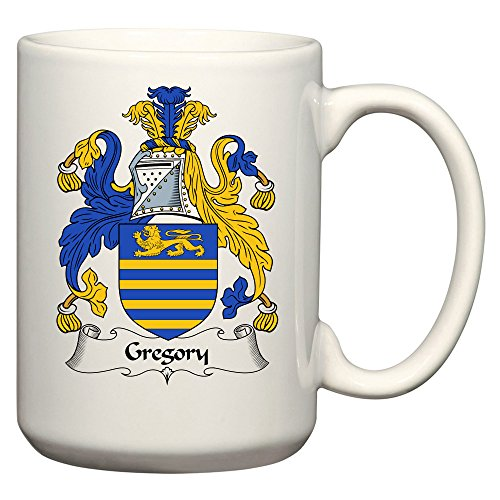 Gregory Coat of Arms/Gregory Family Crest 15 Oz Ceramic Coffee/Cocoa Mug by Carpe Diem Designs, Made in the (Italian Family Crest)