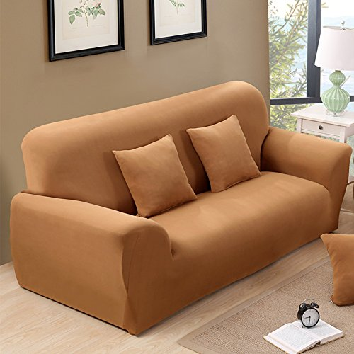 Sofa Slipcovers for 3 Seater Couch Stretch Lightweight Anti-wrinkle Spandex Protector Camel (2x Free Cushion Covers) by Argstar (Leather 3 Seater Sofa)