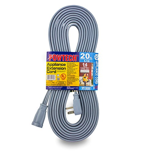 - POWTECH Heavy duty 20 FT Air Conditioner and Major Appliance Extension Cord UL Listed 14 Gauge, 125V, 15 Amps, 1875 Watts GROUNDED 3-PRONGED CORD