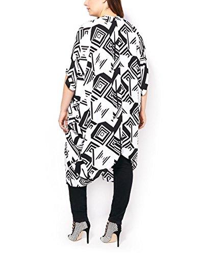 Penningtons Womens Plus Size Short Dolman Sleeve Printed Kimono White X/1X