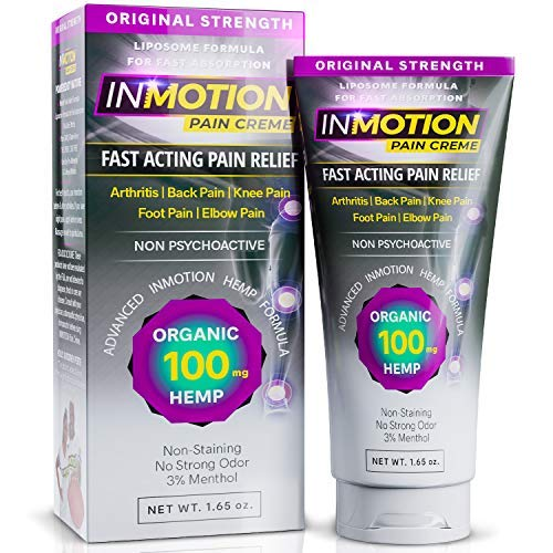 Inmotion Hemp Pain Relief Cream - 100mg Hemp Seed Oil 1.65 Ounce Tube Fast Acting Topical Analgesic for Arthritis, Tendinitis, Back, Knee, Muscle, Foot, and Elbow Pain