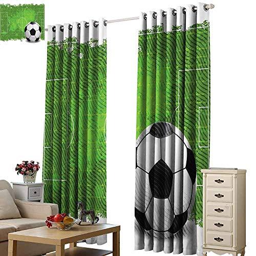 Beihai1Sun Window Curtain Scenery Print Soccer Grunge Worn Looking Pitch Pattern Football Six Yard Box Vintage Illustration Green Black White Cartoon Modern Style Window Drape W72 x H45
