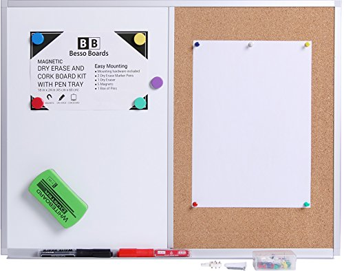 Magnetic Message Bulletin Board (18 x 24 White Board and Cork Board Combination, Magnetic Bulletin Combo Board for Home or Office, Use as Vision or Message Board, Wall Mounted Memo Board, Dry Erase Markers, Eraser, Magnets, Push Pins)