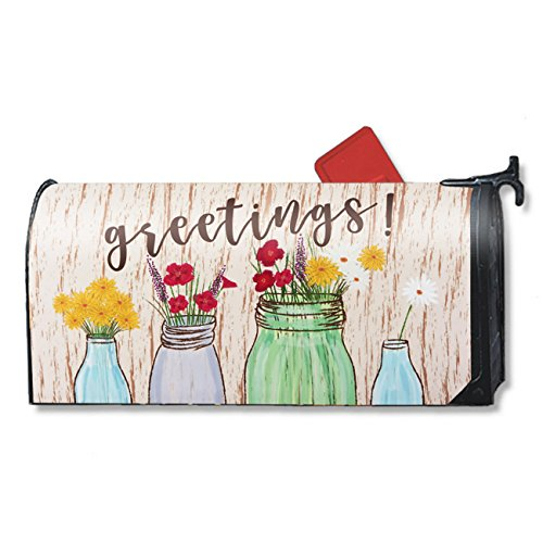 Magnetic Mailbox Cover - Greetings Mailbox Wrap with Decorative Flowers Illustration, Includes Adhesive Number, Standard Sized, 17.25 x 20.75 Inches