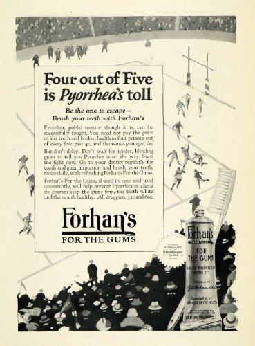 1924 Ad Forhans Gum Toothpaste Dentifrice Pyorrhea Dental Hygiene Football Sport - Original Print - Toothpaste Balls