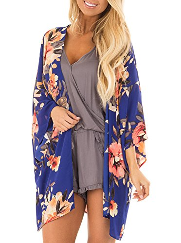 Women Floral Print Kimono Cover Up Sheer Chiffon Blouse Loose Long Cardigan Royal Blue Medium