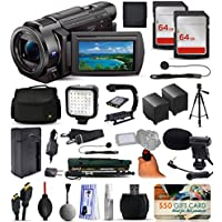 Sony FDR-AX53 4K Ultra HD Handycam Camcorder Video Camera + 128GB Boardcasting Filmmakers Package with LED Night Light + Tripod + Monopod + Action Stabilizer + Handgrip + Microphone + More