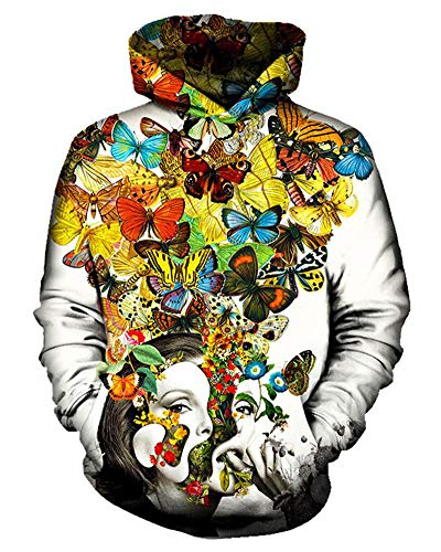 Chiclook Cool Colorful Butterfly Hoodies Pullover Sweatshirt Hoody Tracksuits Hooded