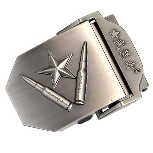Faleto Mens Customized Belt Buckles Military Automatic Adjustable Metal Buckle,9-Star & (Military Bullet Belt)