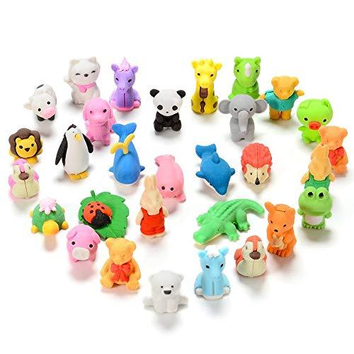 FunsLane 30 Pcs Japanese Animal Erasers Kids, Mini Puzzle Eraser Take Apart Toys, Kawaii Pencil Erasers Adorable Randomly Selected Zoo Animal Collection Set, Novelty Party Favors Educational Gift