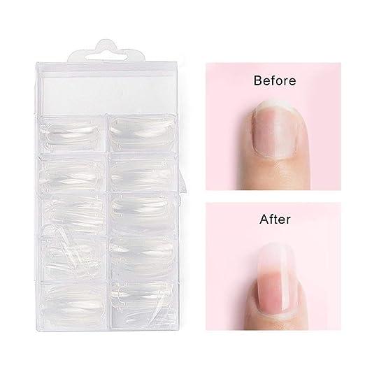100 Piezas Puntas de uñas Translúcido Nail Tips para uso en casa salones de belleza Mujeres Claro Uñas postizas Uñas postizas accesorios: Amazon.es: Belleza