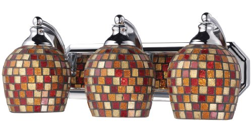 Elk 570-3C-MLT 3-Light Vanity In Polished Chrome and Multi Mosaic Glass (Mlt Vanity Vanity Light)