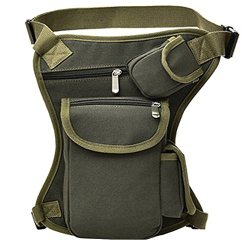 FiveloveTwo Small Multi-Purpose Drop Waist Leg Bag Canvas Utility Tactical Hip Molle Pack Sport Camping Hiking Motorcycle Racing Thigh Pouch Army Green