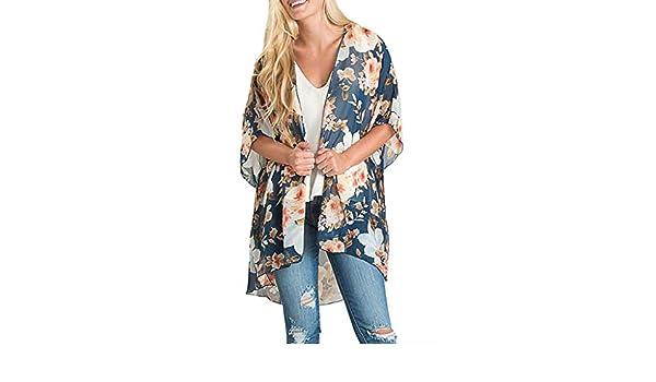 GUCIStyle Camisa para Mujer Kimono con Estampado de Flores de Gasa ...