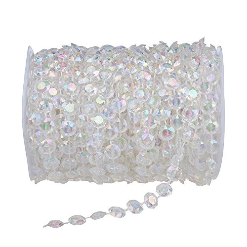 Plastic Crystal Clear Beads String for Chandelier Curtains for Doorways Decoration 1 Roll (Type 2) ()