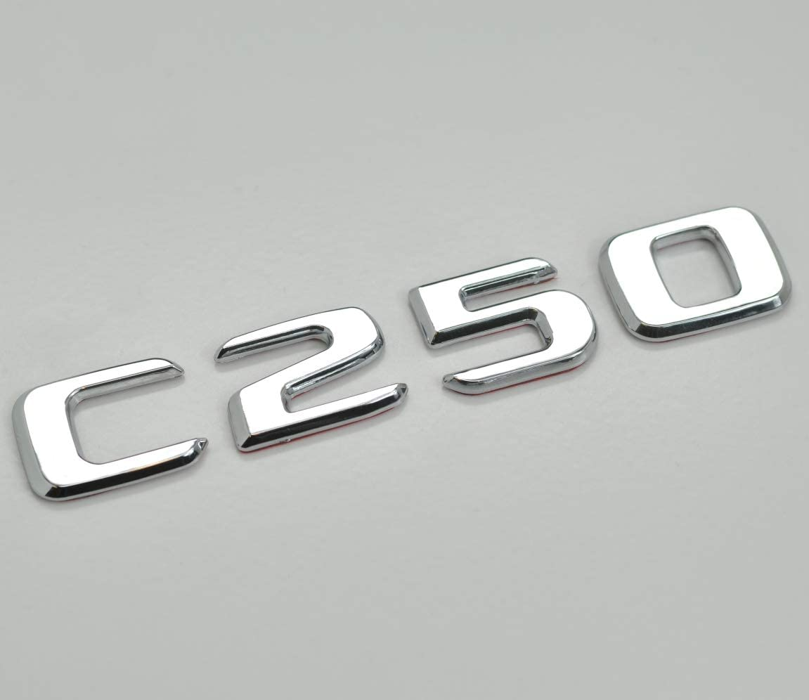 Silver Chrome C250 Flat Benz Car Model Numbers Letters Badge Emblem For For Benz C Class W202 W203 W204 W205 AMG