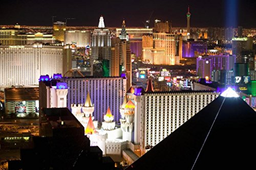 Las Vegas Nevada Strip Cityscape Illuminated at Night Luxor Excalibur Photo Art Print Poster 36x24 inch