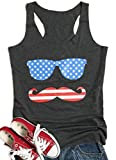 FAYALEQ Women's American Flag Printed Sunglasses Glasses Beard Tank Tops Casual Shirt Size XL (Dark Grey)