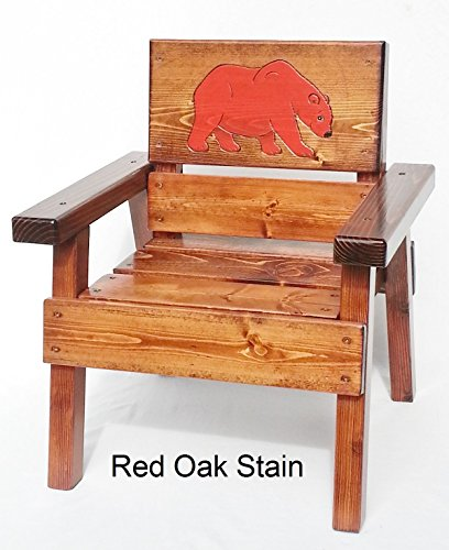Kids Wood Chair with Arms, Engraved Big Bear Design, Indoor / Outdoor