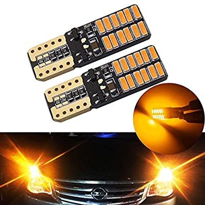 YaaGoo Bright Dome Lights LED bulbs Map License Trunk lamps,Canbus Error free,T10 168 194,yellow amber,2pcs,Compact mini-size: Automotive