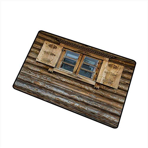 (BeckyWCarr Shutters Commercial Grade Entrance mat Windows with Shutters Patterned on The Wall of The Old Wooden House Cottage Print for entrances, garages, patios W29.5 x L39.4 Inch,Brown)