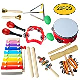 Kids Musical Instruments Set,Egg Shakers for Babies,Wooden Baby Percussion Toy Rhythm Xylophone,Infant Drum Set,Kids Percussion Toy,Maracas/Wrist Bells/Triangle Hand Bells/Rhythm Band for Toddler, Children Preschool Educational Early Learning 20PCS