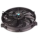 14'' inch Slim Fan Push Pull Electric Radiator Cooling Fans 12V Mount Kit Unversal Black