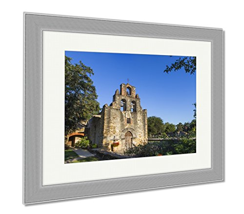 Ashley Framed Prints Mission San Juan De Capistrano Chapel And Belltower San Antonio Texas, Wall Art Home Decoration, Color, 34x40 (frame size), Silver Frame, AG6517483 by Ashley Framed Prints