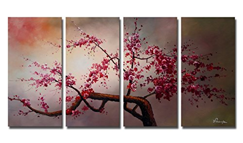 Ode-Rin - 100% Hand Painted Oil Painting on Canvas Pink Plum Blossoms Framed and Stretched 4 Pieces Exuberant Tree Wall Art Painting for Living Room Home Decor, Ready to Hang - 4 Blossom Bar
