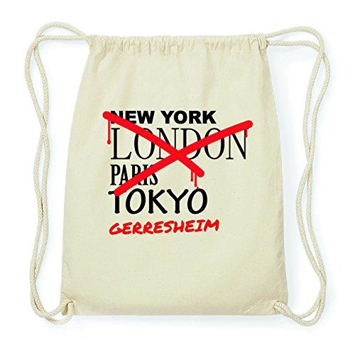 JOllify GERRESHEIM Hipster Turnbeutel Tasche Rucksack aus Baumwolle - Farbe: natur Design: Grafitti