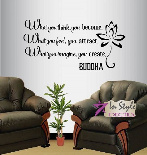 Wall Vinyl Decal Home Decor Art Sticker Buddha Quote What You Think Become Feel Attract Yoga Living Room Bedroom Removable Stylish