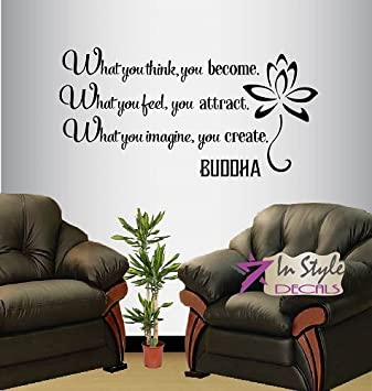 Wall Vinyl Decal Home Decor Art Sticker Buddha Quote What You Think Become