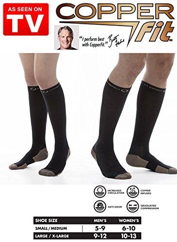 2 Pair Copper Fit Energy Compression Socks Compression Knee High Socks (L/XL, Black)