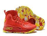 bashy fashion U/A Men's 3 Red & Yellow NBA, Basketball Sneakers (9.5, Red/Yellow)