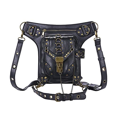 Steampunk Waist Bag Fanny Pack Thigh Holster Purse PouchRetro Fashion Gothic Casual Leather Shoulder Crossbody Messenger Bags Punk Rock Travel Hiking Sport Chain Wallet Bag for Women Men (Black) ()