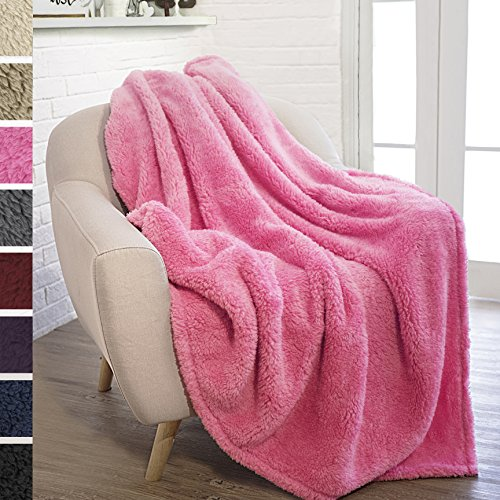 PAVILIA Plush Sherpa Throw Blanket for Couch Sofa   Fluffy Microfiber Fleece Throw   Soft, Fuzzy, Cozy, Lightweight   Solid Pink Blanket   50 x 60 Inches