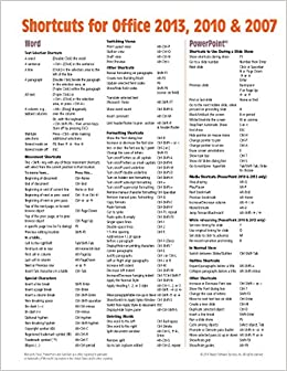 shortcuts for microsoft office 2013 2010 2007 quick reference guide cheat sheet of keyboard shortcuts laminated card beezix inc 9781939791306