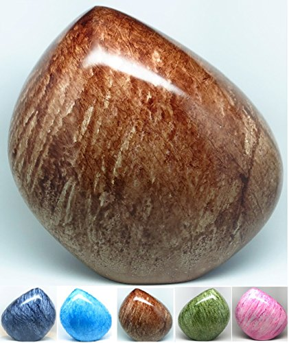 Brown Cremation Urn - Mountain / Rock Funeral Urn - Aluminum Memorial Garden Burial Urn for Human Ashes Adult Size - Aluminum with Marbled Design