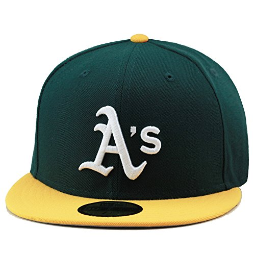 New Era 59fifty Oakland Athletics Fitted Hat Cap Green/Yellow/White (7 - Yellow Hat 59fifty Fitted